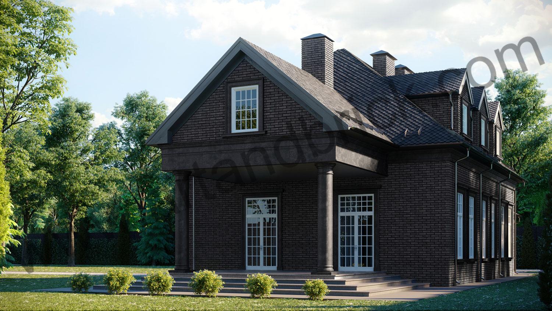 Архитектурный проект частного дома в американском стиле - вид справа 3. Общая площадь частного дома– 360 кв.м.