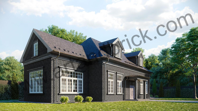 Архитектурный проект частного дома в американском стиле - вид слева. Общая площадь частного дома– 360 кв.м.