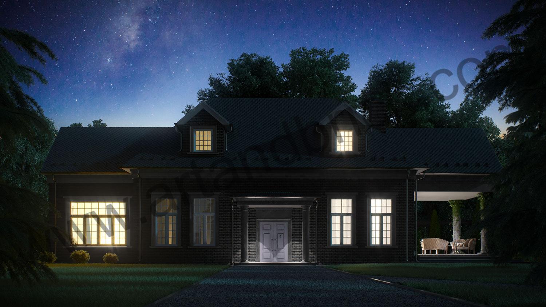 Архитектурный проект частного дома в американском стиле - главный фасад 2. Общая площадь частного дома– 360 кв.м.