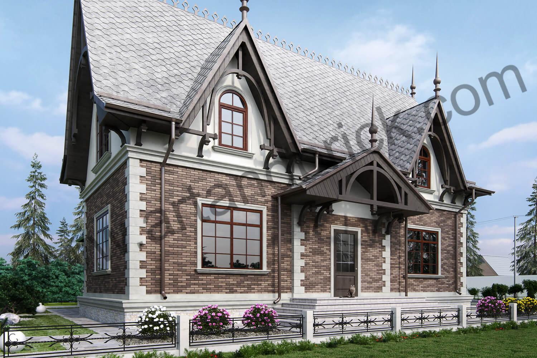 Архитектурный проект частного дома в викторианском стиле - главный фасад. Площадь коттеджа с геометрией и фасадами Викторианской эпохи – 289,4 кв.м.