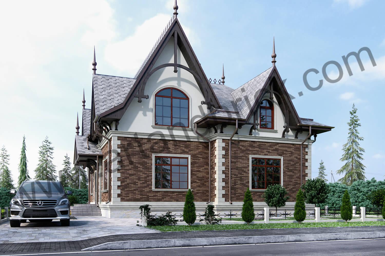 Архитектурный проект частного дома в викторианском стиле - видовой боковой фасад, въезд. Площадь коттеджа с геометрией и фасадами Викторианской эпохи – 289,4 кв.м.