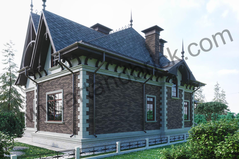 Архитектурный проект частного дома в викторианском стиле - задний фасад. Площадь коттеджа с геометрией и фасадами Викторианской эпохи – 289,4 кв.м.