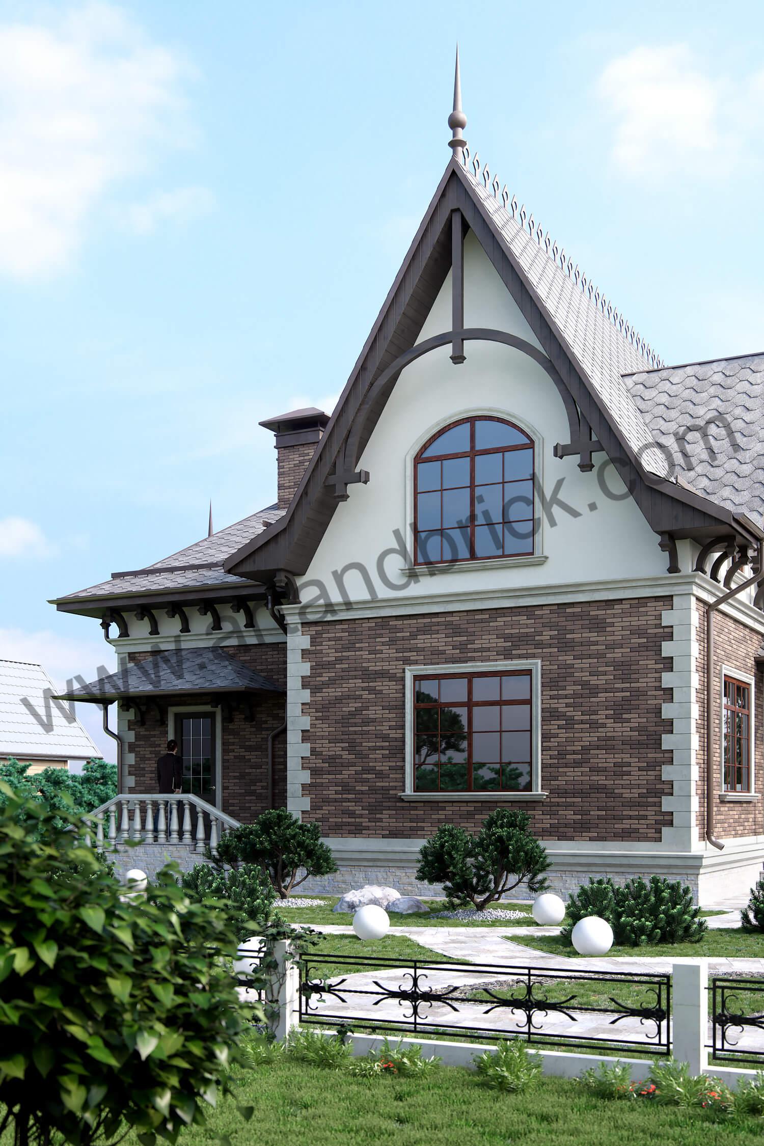 Архитектурный проект частного дома в викторианском стиле - боковой фасад с крыльцом. Площадь коттеджа с геометрией и фасадами Викторианской эпохи – 289,4 кв.м.