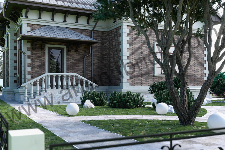 Архитектурный проект частного дома в викторианском стиле - крыльцо. Площадь коттеджа с геометрией и фасадами Викторианской эпохи – 289,4 кв.м.