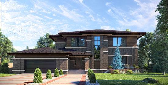 Архитектурный проект дома в МО, Митькино в стире Прерий - 411 кв.м.