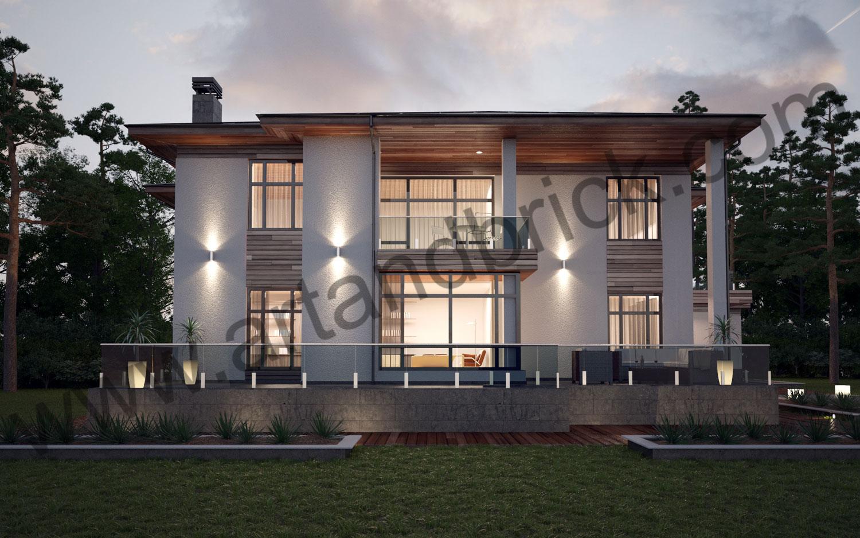 Задний фасад проекта коттеджа в современном стиле. Площадь современного индивидуального жилого дома - 535,2 кв.м.