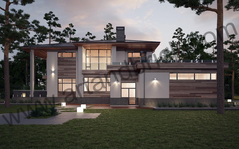 Боковой фасад проекта коттеджа в современном стиле. Площадь современного загородного дома - 535,2 кв.м.