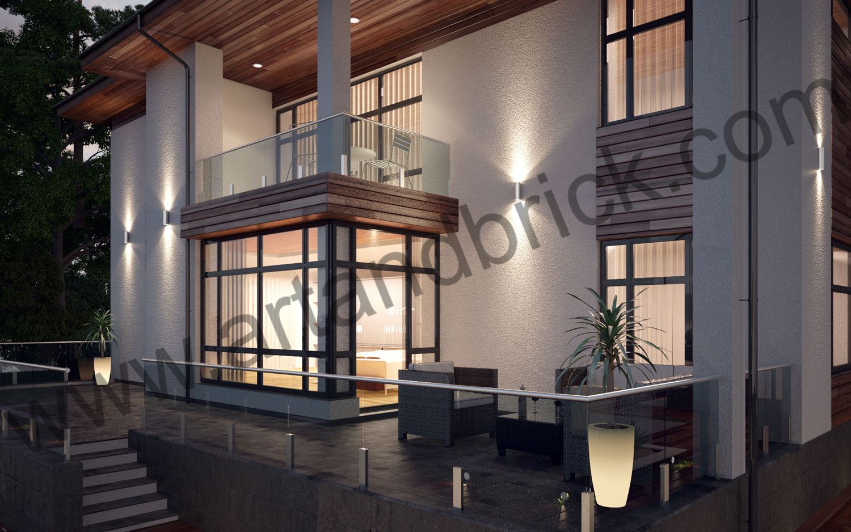 Терраса проекта коттеджа в современном стиле. Площадь индивидуальный проекта современного коттеджа - 535,2 кв.м.