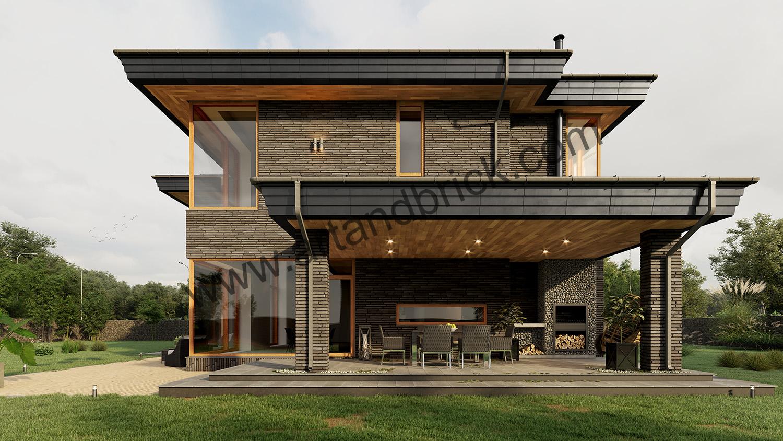 Дворовый фасад в современном стиле