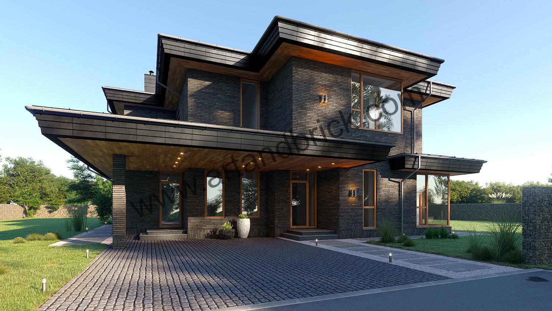 Въездная зона дома в современном стиле